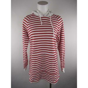 Piori Hooded Striped Pocket Long Sleeve Knit Top